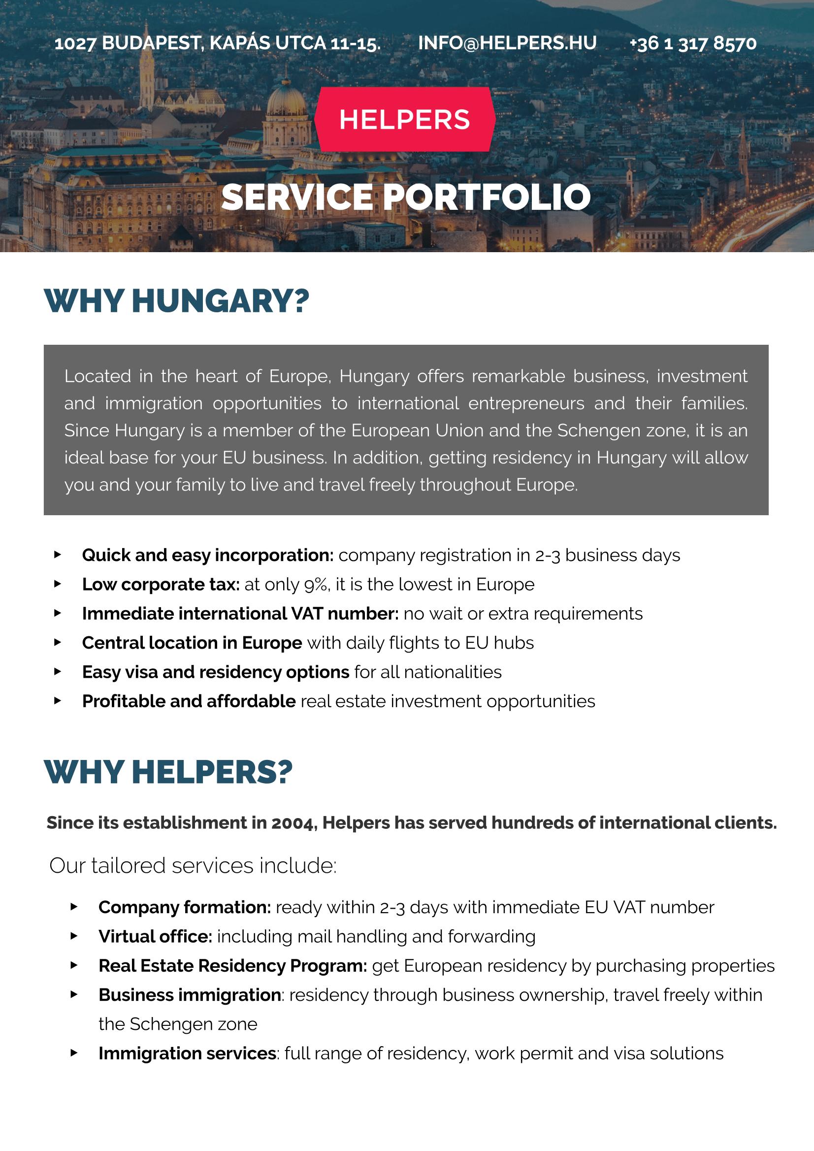 Helpers Hungary Kft  - portfolio services - Kínál (elad